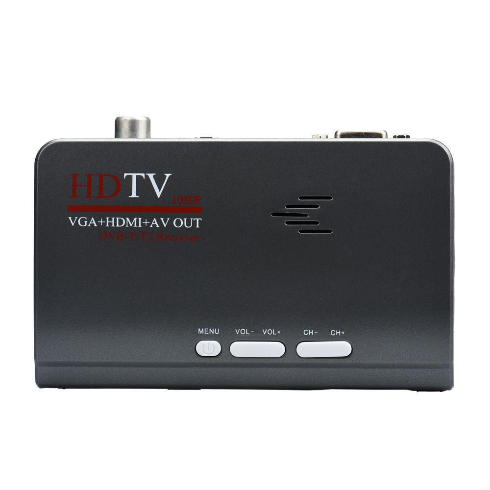 Мода HDMI DVB-T-T2 TV Box VGA/AV тюнер приемник конвертер ж / пульт дистанционного управления original satlink ws 7990 4 route dvb t modulator av hdmi four router dm modulator dvb t av hd digital rf modulator