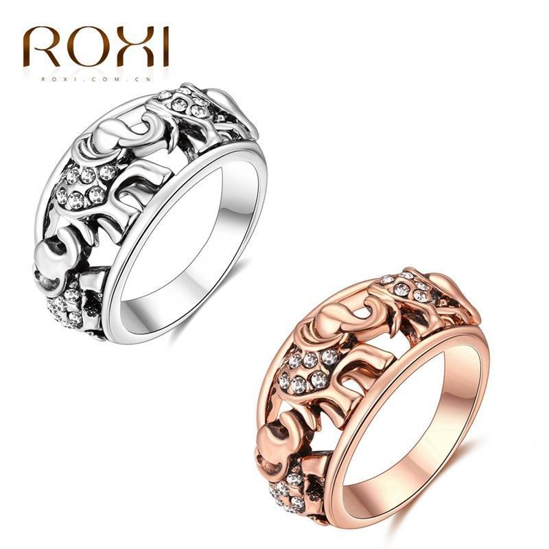 РОКСИ ретро кольца розовое золото / белое золото покрытием горный хрусталь полых резной женщины к...