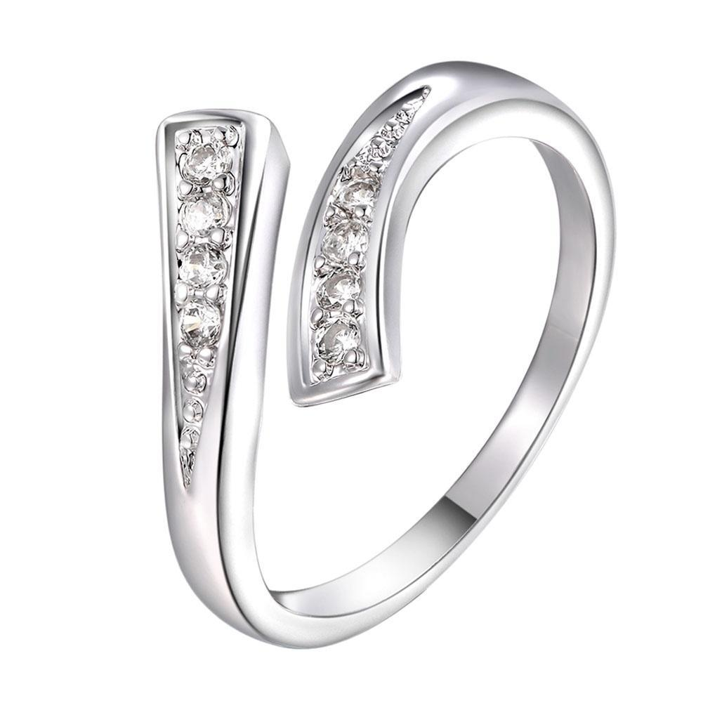 Женщины мода 925 Серебряный изысканный горный хрусталь кольцо открытия кольцо