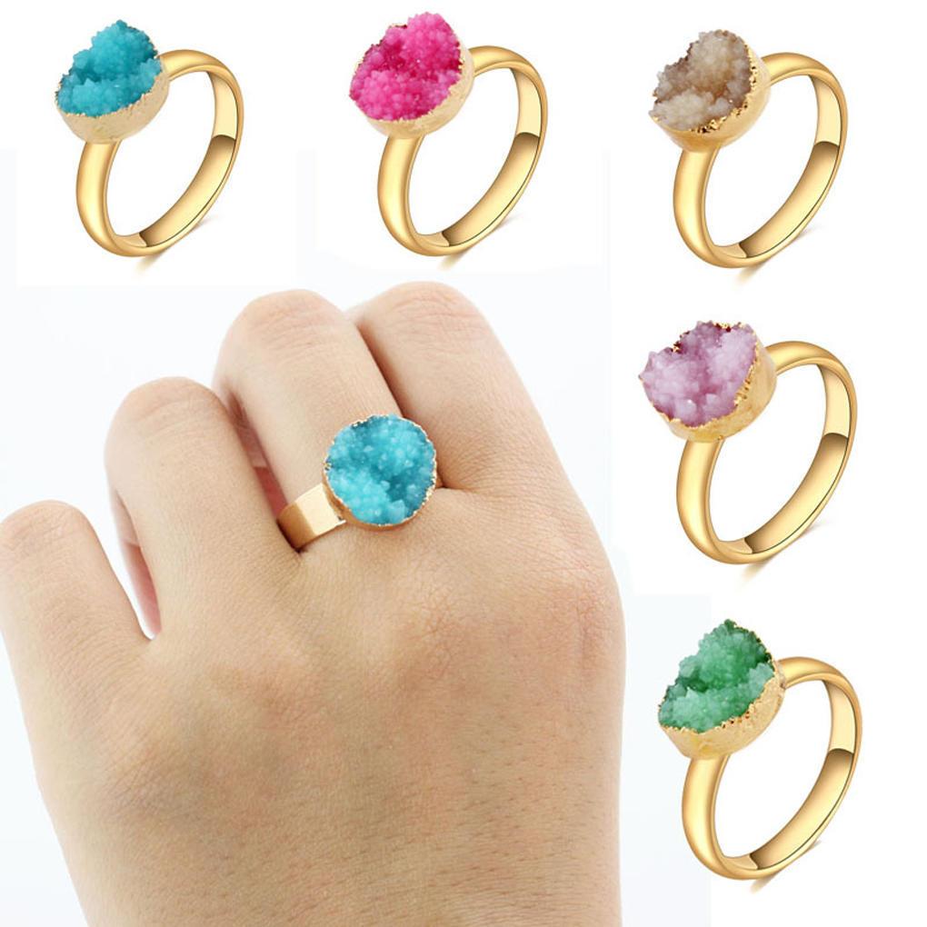 Женщины личность Lrregular природных друзских золотые кольца кольца Открытие Богемии кольца