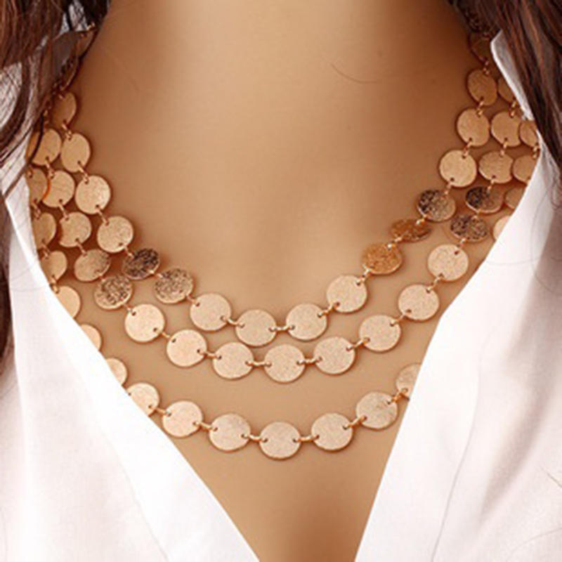 Панк ретро блестка цепи ожерелье женщин золотые многослойная бижутерия