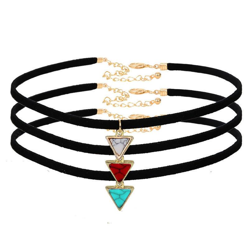 Черный бархат колье треугольник искусственного камня Ожерелья