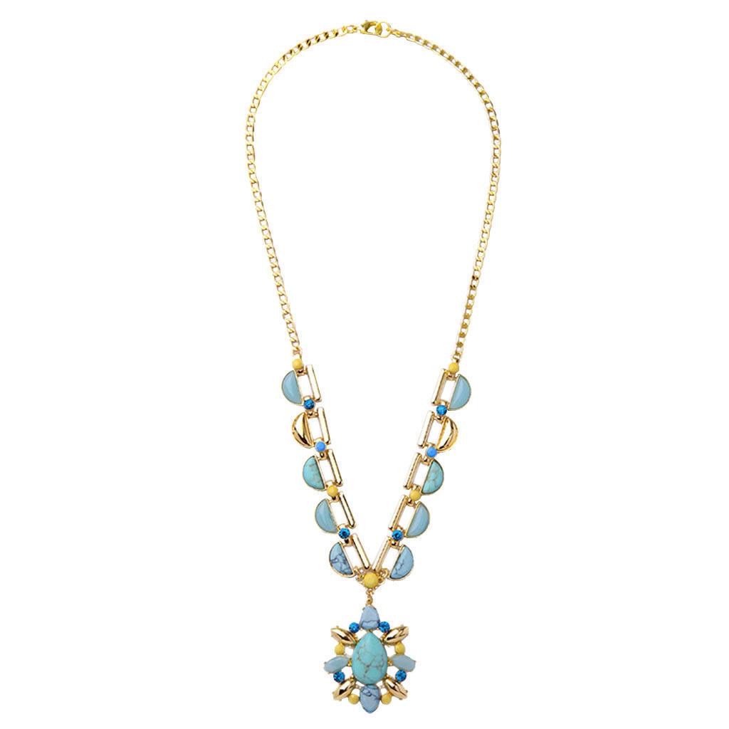 Женщин золотые цепочки колье коренастый Bib заявление ожерелье Gem камень Кулон