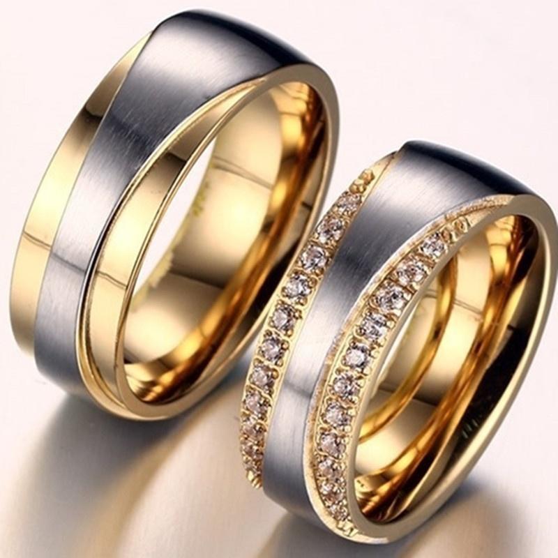 18k gold plated alliance ring cz diamond wedding band ring f