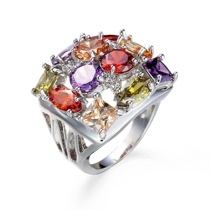 Женщины красочные кубического циркония кольца из белого золота покрытием палец кольцо