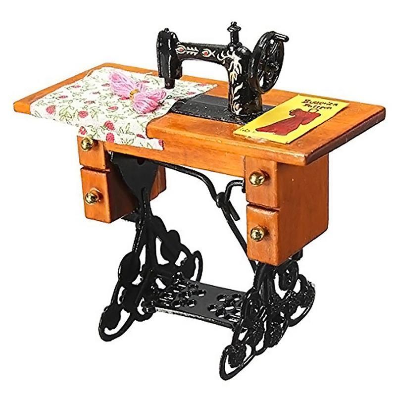 Винтажные миниатюрная мебель швейная машина для Dollhouse масштаб 1/12 швейная машина vlk napoli 2400