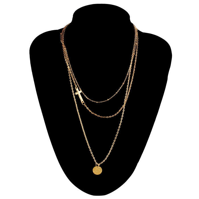 Женщины крест многослойных блестками Кулон Золотая цепочка заявление ожерелье модно