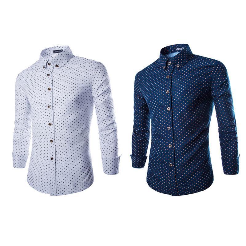 Осенние рубашки роскошь Мужская стильный тонкий Fit рубашки с длинным рукавом формальной рубашки ... рубашки