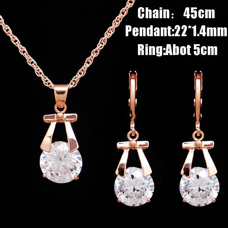 Ювелирные изделия Кулон Золотая цепочка Diamond набор женщин Кореи ожерелье серьги