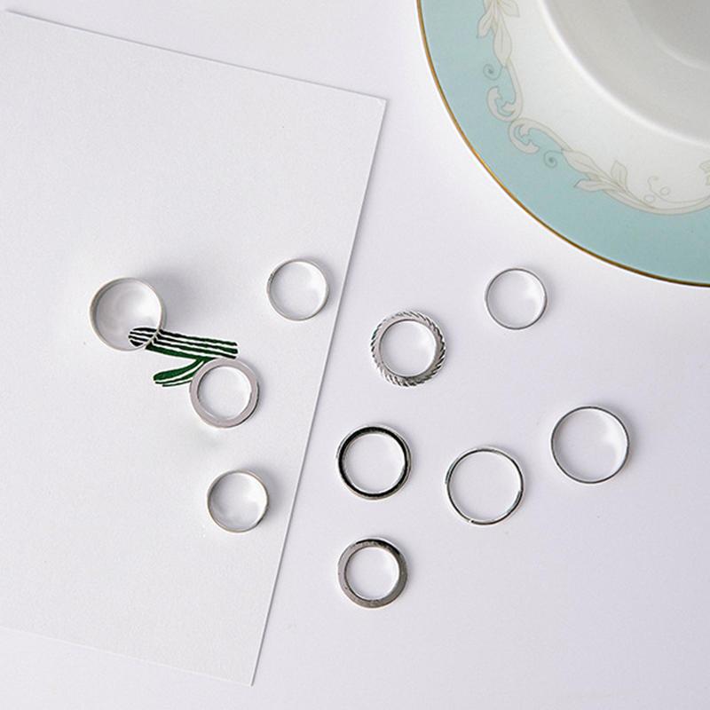 10 шт кольца набор хвост роскошь кольцо Комплект простой Серебряное кольцо Обручальное кольцо Укр...