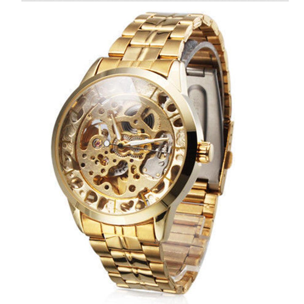Мужской моде роскошь автоматические механические скелет золотые мужские наручные часы