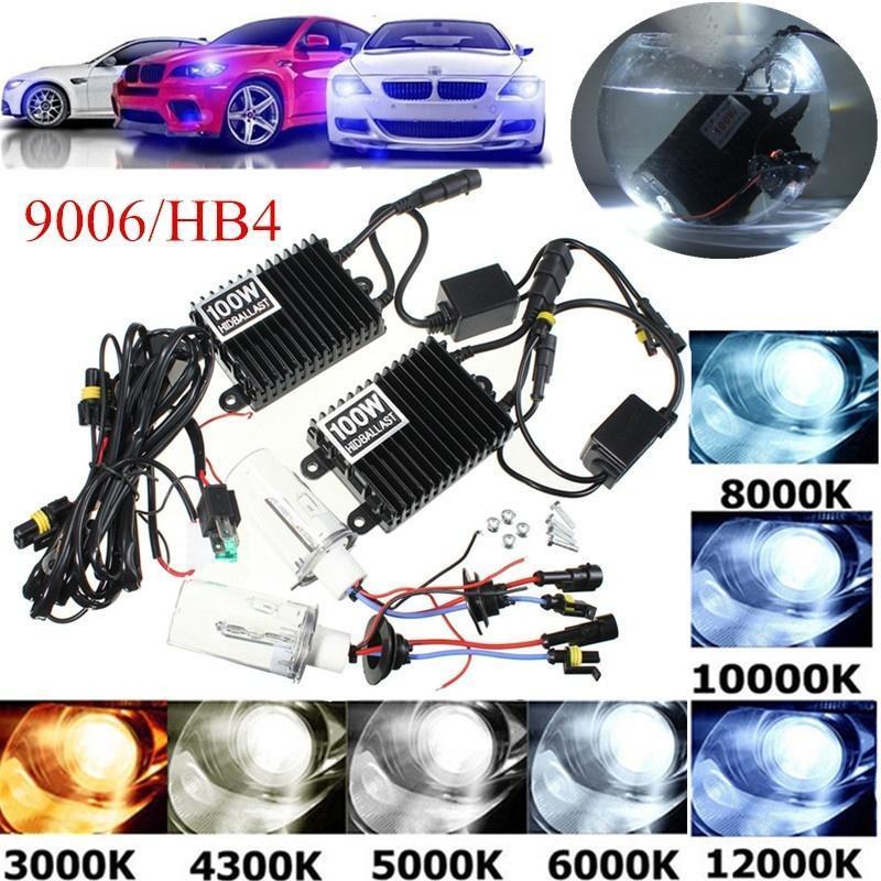 100W 9006/HB4 автомобиля СПРЯТАЛ балласт лампа комплект ксенона задать DC12V водонепроницаемый IP68 цена