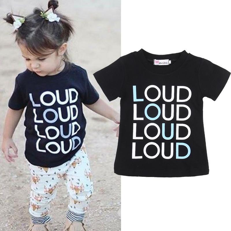 Хлопок T рубашки малыш дети девочек короткий рукав тройника Топы Блузки