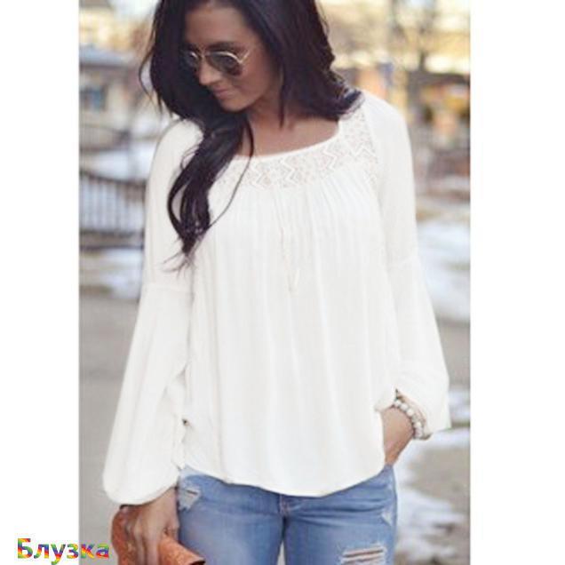 Женщины моды свободные шифоновые блузки кружева верхней рубашки летние рубашки случайным рубашки