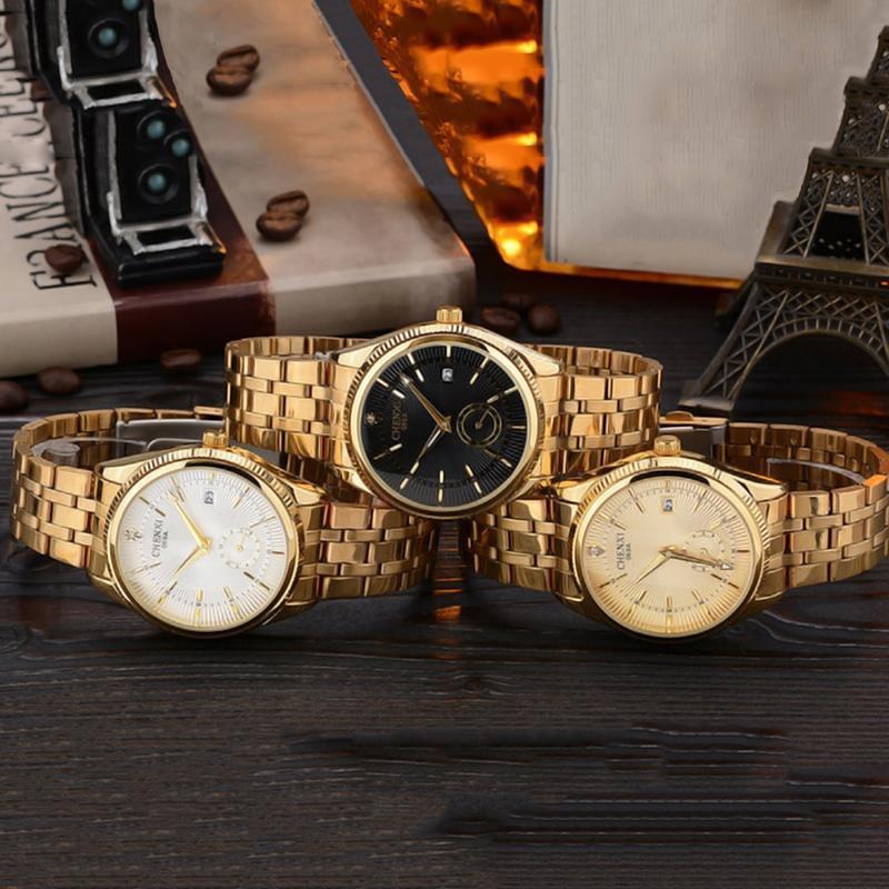 Мужские золотые часы Топ роскошь мужчин наручные часы кварцевые наручные