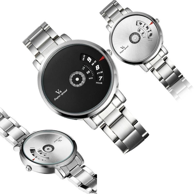 Моде классические стильные мужчины нержавеющая сталь / кожаный Band не номер наручные часы аналог...