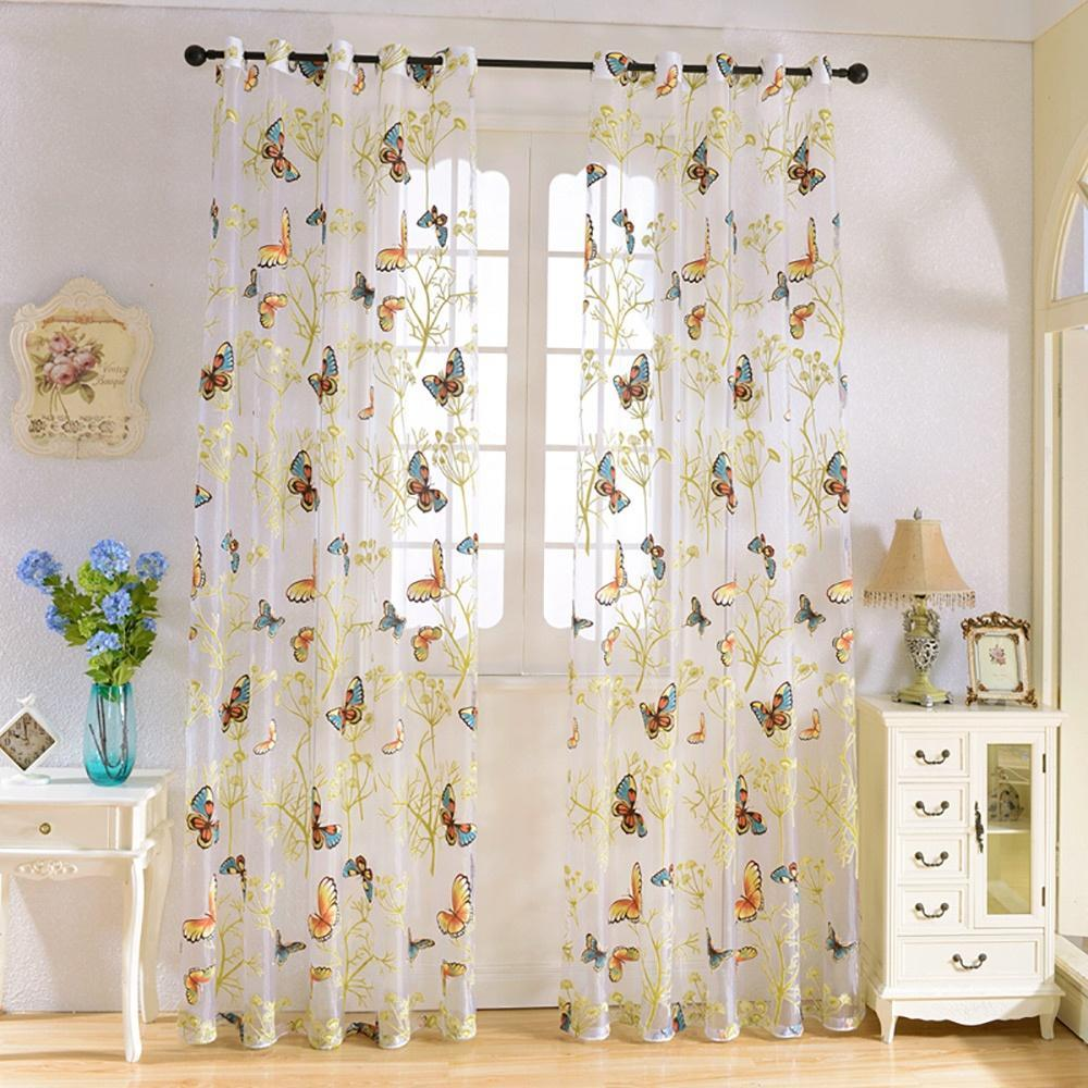 100 x 270cm butterfly tulle window curtain home decor for li