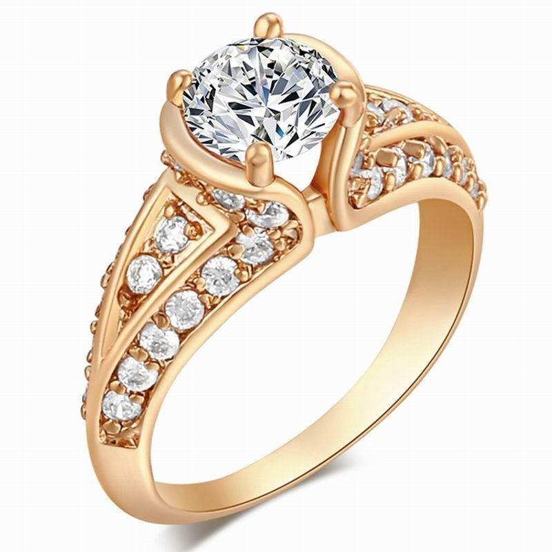 Круглый Белый топаз кристалл золотые кольца для женщин элегантные кольца подарок