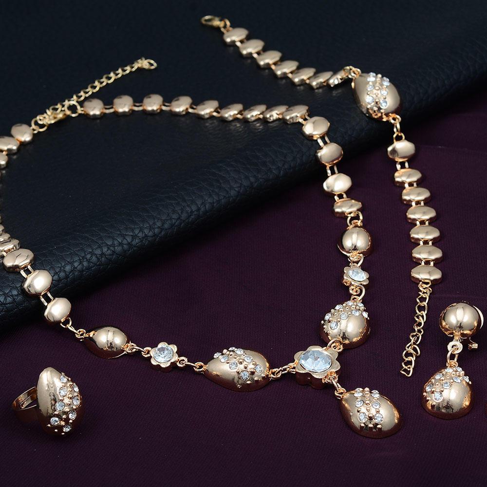 Золото покрытием горный хрусталь Колье браслет кольцо серьги комплект ювелирных изделий