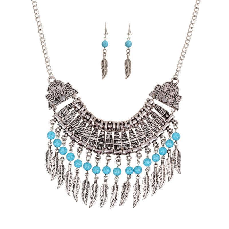 Женщины лист кисточкой золото стразами колье ожерелье серьги комплект ювелирных изделий