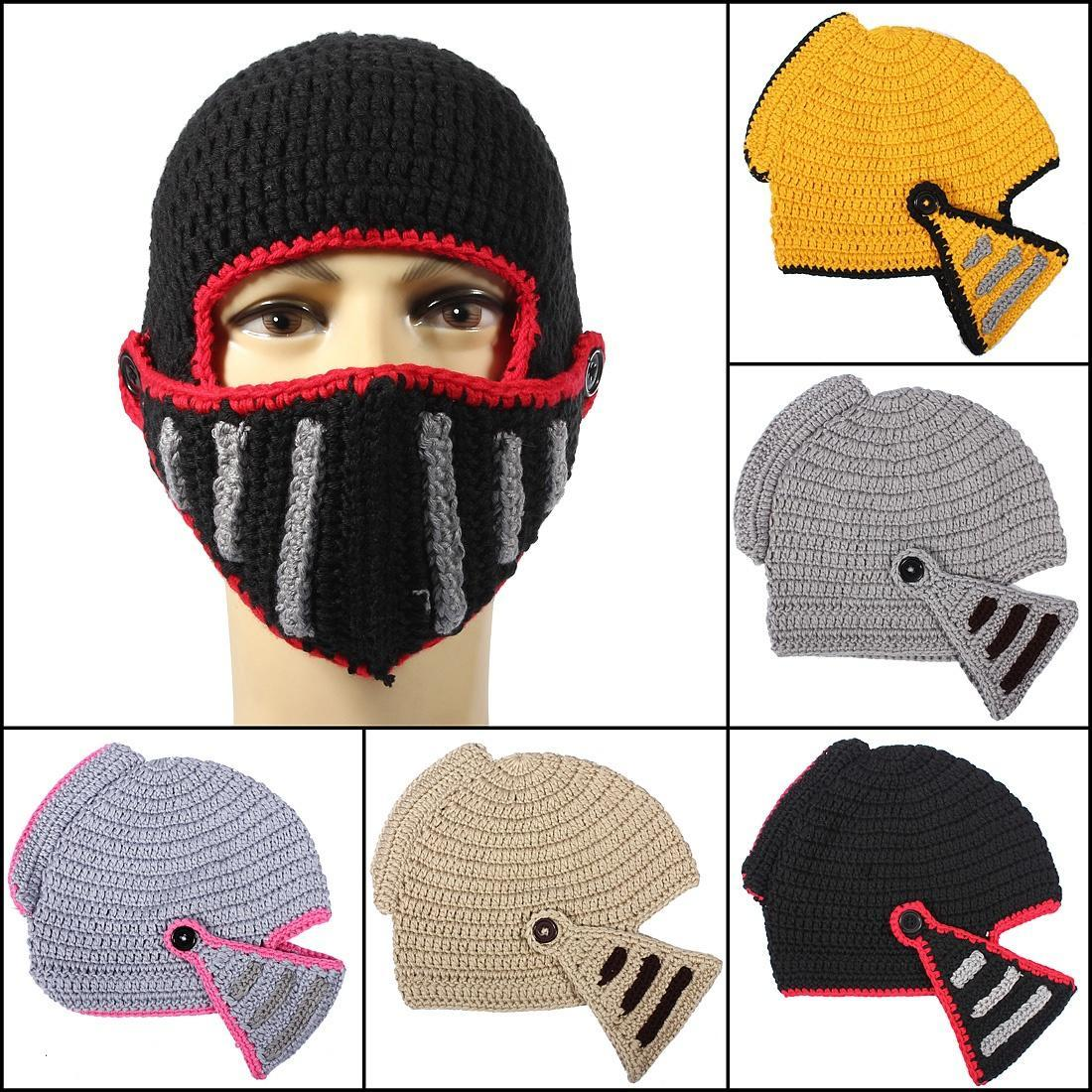 Мужчины зима теплая шапочка Римской мягкая шапочка шапочка шлем лицо маска вязание рыцарь шапочка маска ферби черная uni