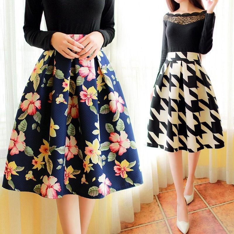 Корейский моды Ретро цветочные юбка плиссированные юбки женщин юбки цветочные Плиссированные юбки юбки horosha юбка