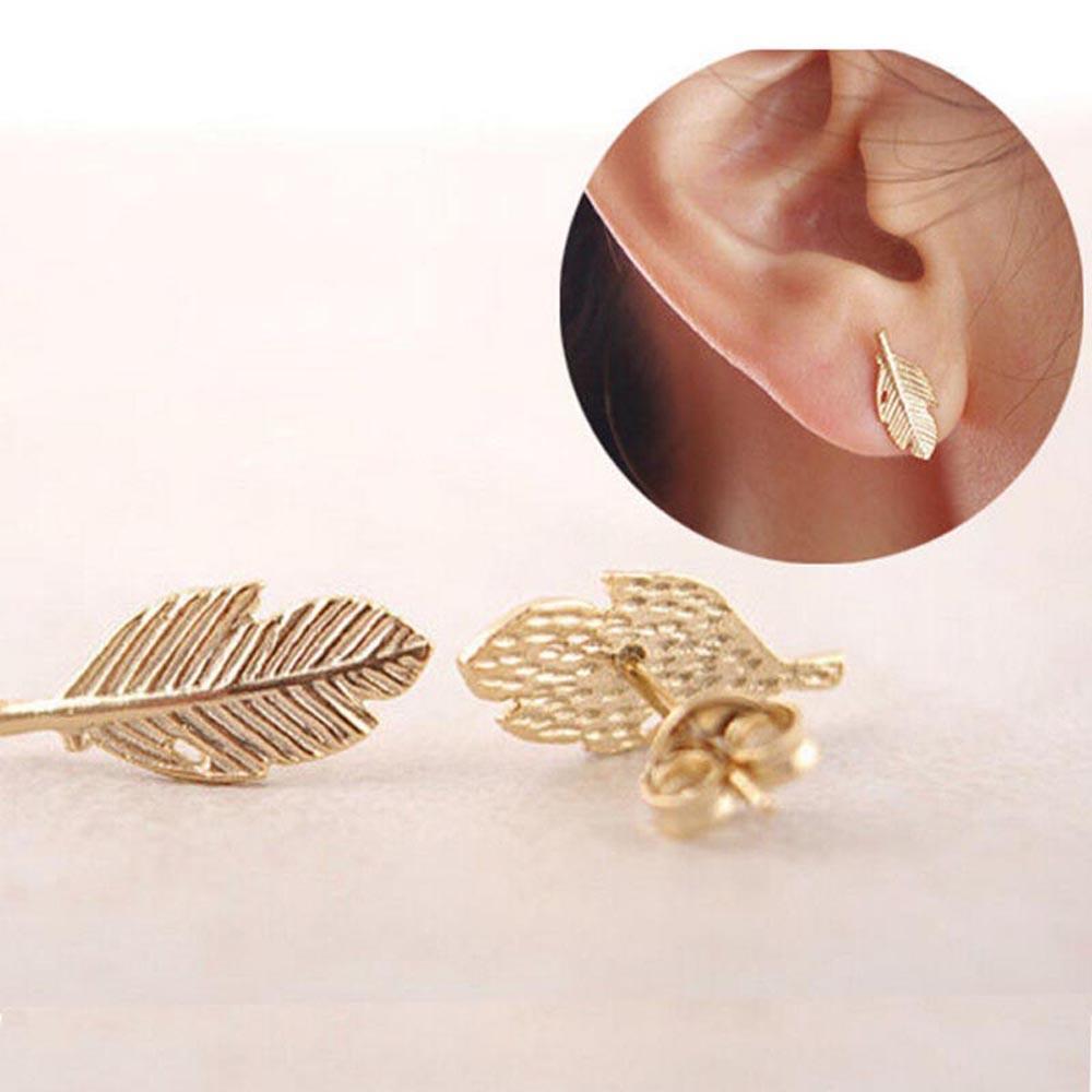 Мода Золотой элегантные ювелирные лист серьги уха шпильки