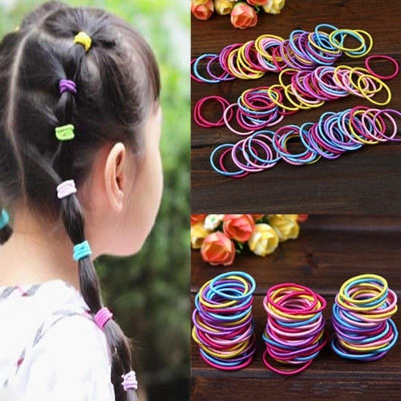 100Pcs/set Корейский моды красочные упругие волос канатов волос галстуки хвост держатель Hairband... галстуки