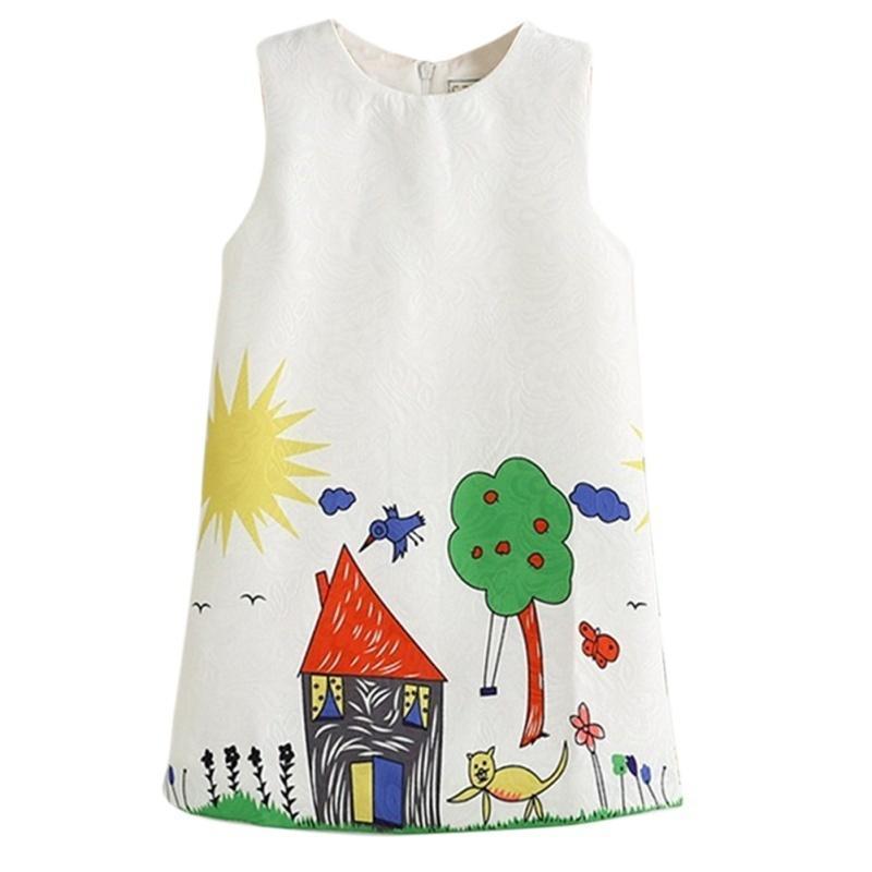Летний медведь лидер девочек платья принцессы платье дети одежда граффити печати Baby Одежда для ... платья для девочек