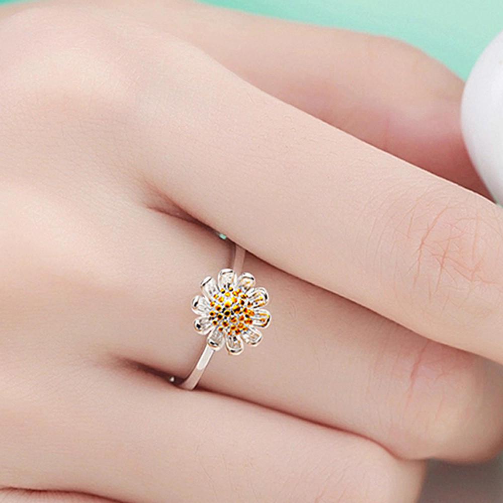 Новички серебряные кольца Дейзи маленькие открытые кольца для женщин девушки подарок