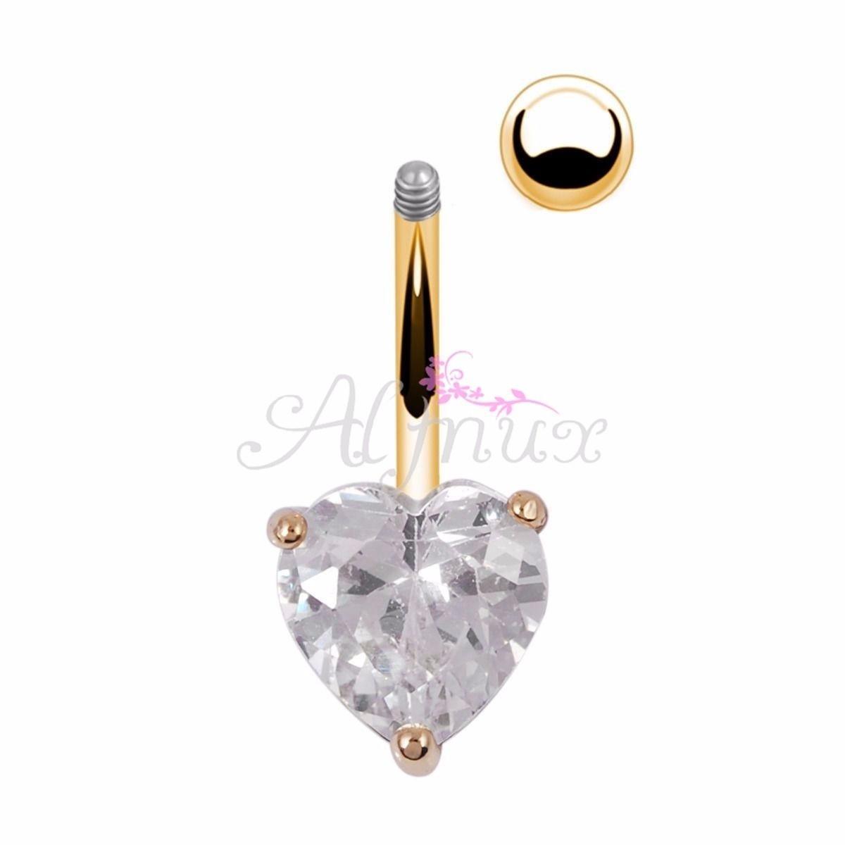 Бар кольцо хирургическая сталь позолоченный Золотое сердце декор кнопку пупком живота