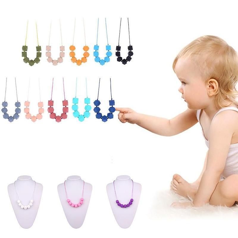 Новый магазин Скидка! цепи Baby силиконовые прорезыватель бисфенол-многоугольник бусины Шарм милы... скидка