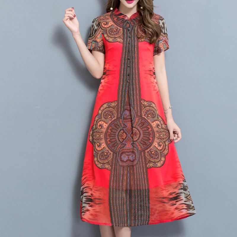 Женщины летнее платье шелковое полиэстер плюс размер онлайн цельный платье