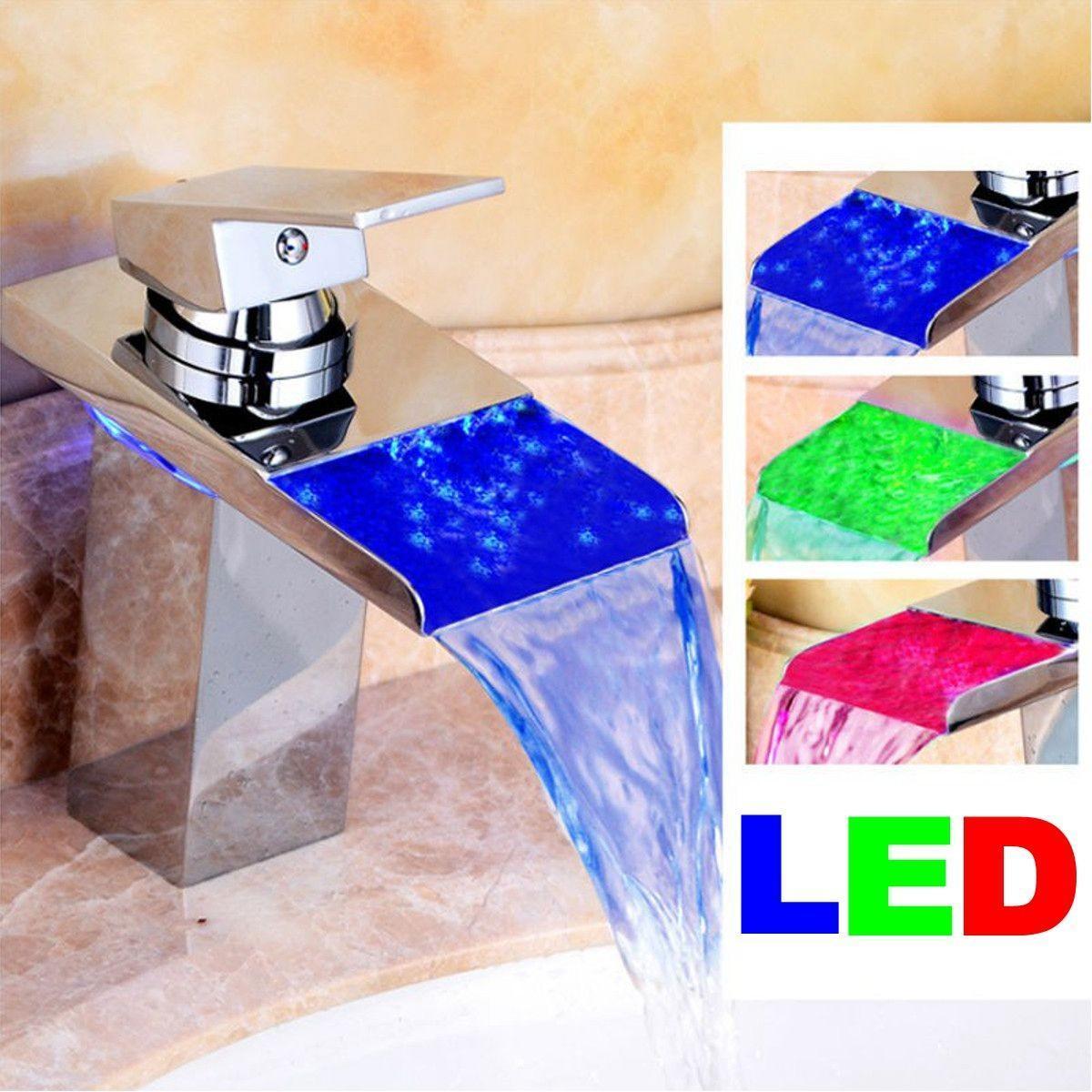3 цвета светодиодные смеситель кран стекла Водопад ванной ванной бассейна современный смеситель смеситель fresso sh377