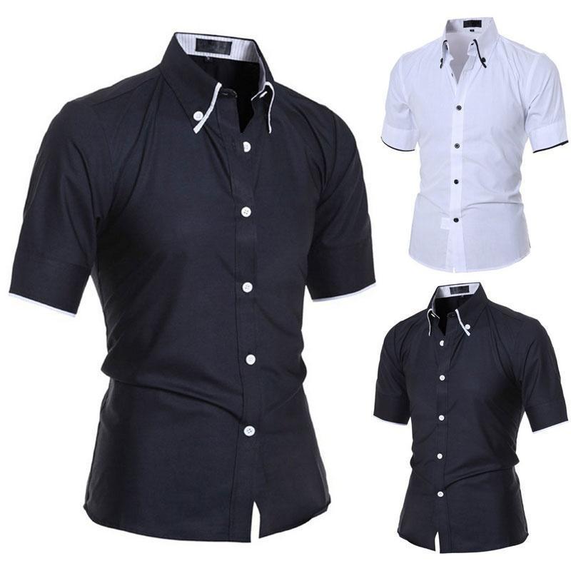 Мода мужская роскошные короткий рукав рубашки тонкий рубашки Повседневные топы рубашки