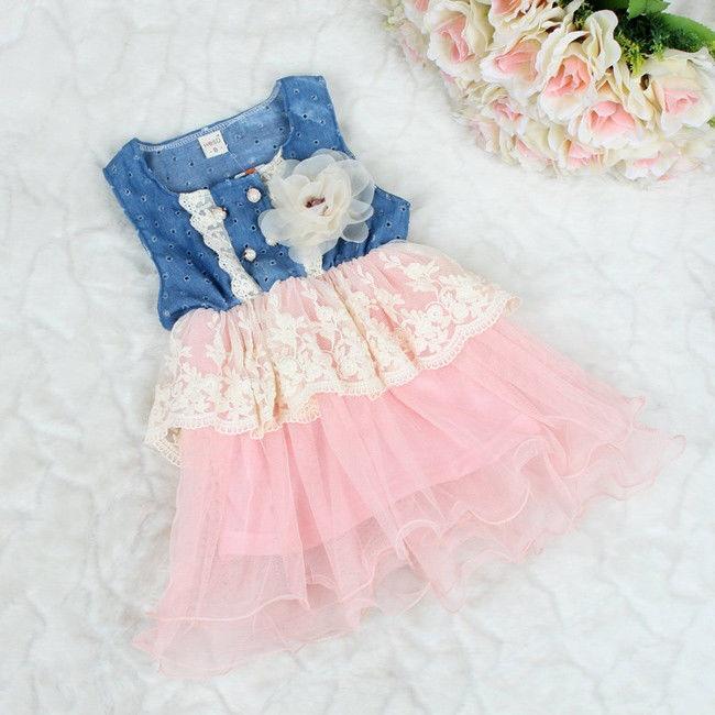 Детские девочек принцесса цветок юбка джинсовая платье дети кружева платья новорожденных 5T вязаные платья для новорожденных девочек