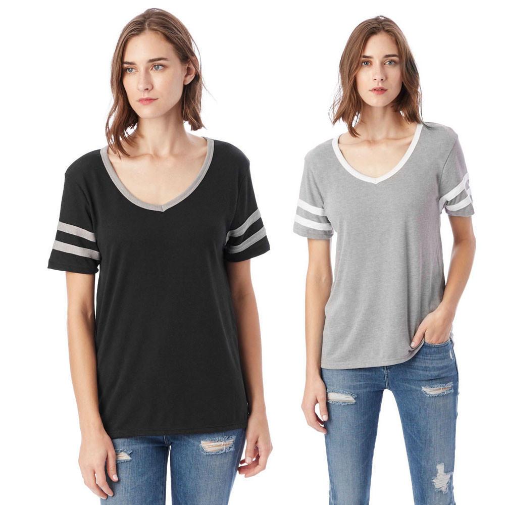 Женщины короткие рукав сращивания V шеи свободные рубашки блузки верхней рубашки рубашки