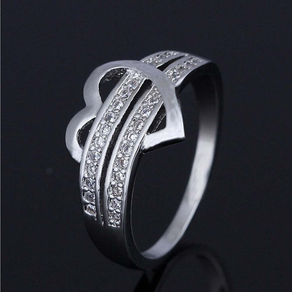 Мода женщин Серебряное кольцо любви сердце обручальное кольцо горный хрусталь Кристалл ювелирные ...