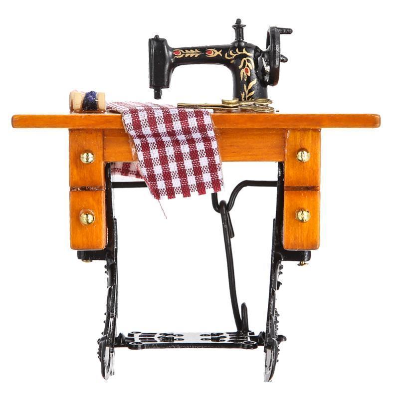 1:12 dollhouse швейная машина с резьбой ножницы материала древесины металла швейная машина vlk napoli 2400