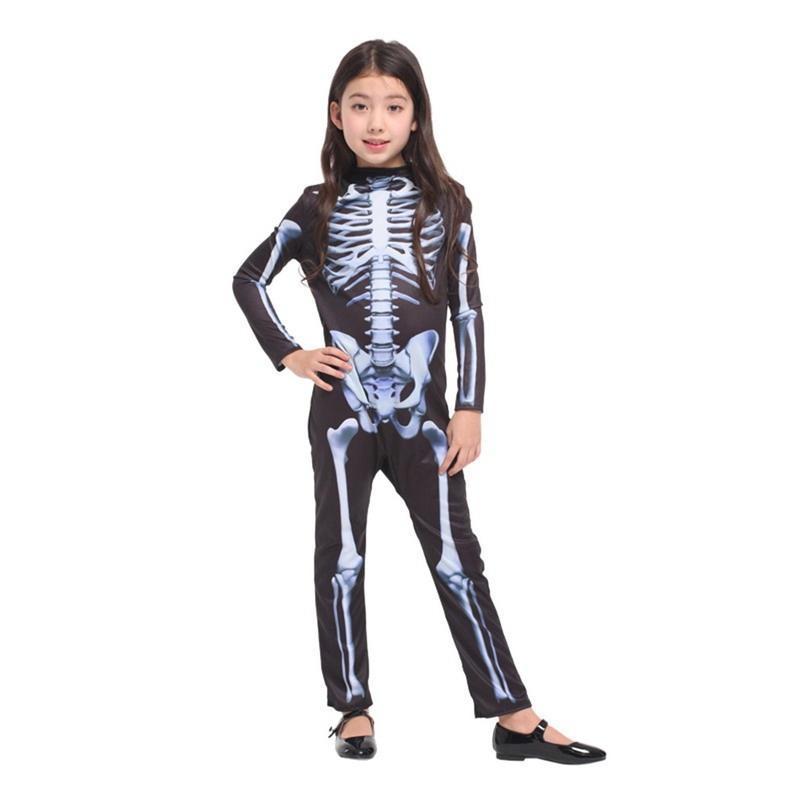 Детей производительность костюмы Хэллоуин партии черепа скелет костюмы косплей комбинезон костюмы