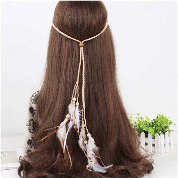 Мода женщин богемной Handmede перо оголовье хиппи плетеные Аксессуары для волос плетеные заборы для дачи купить