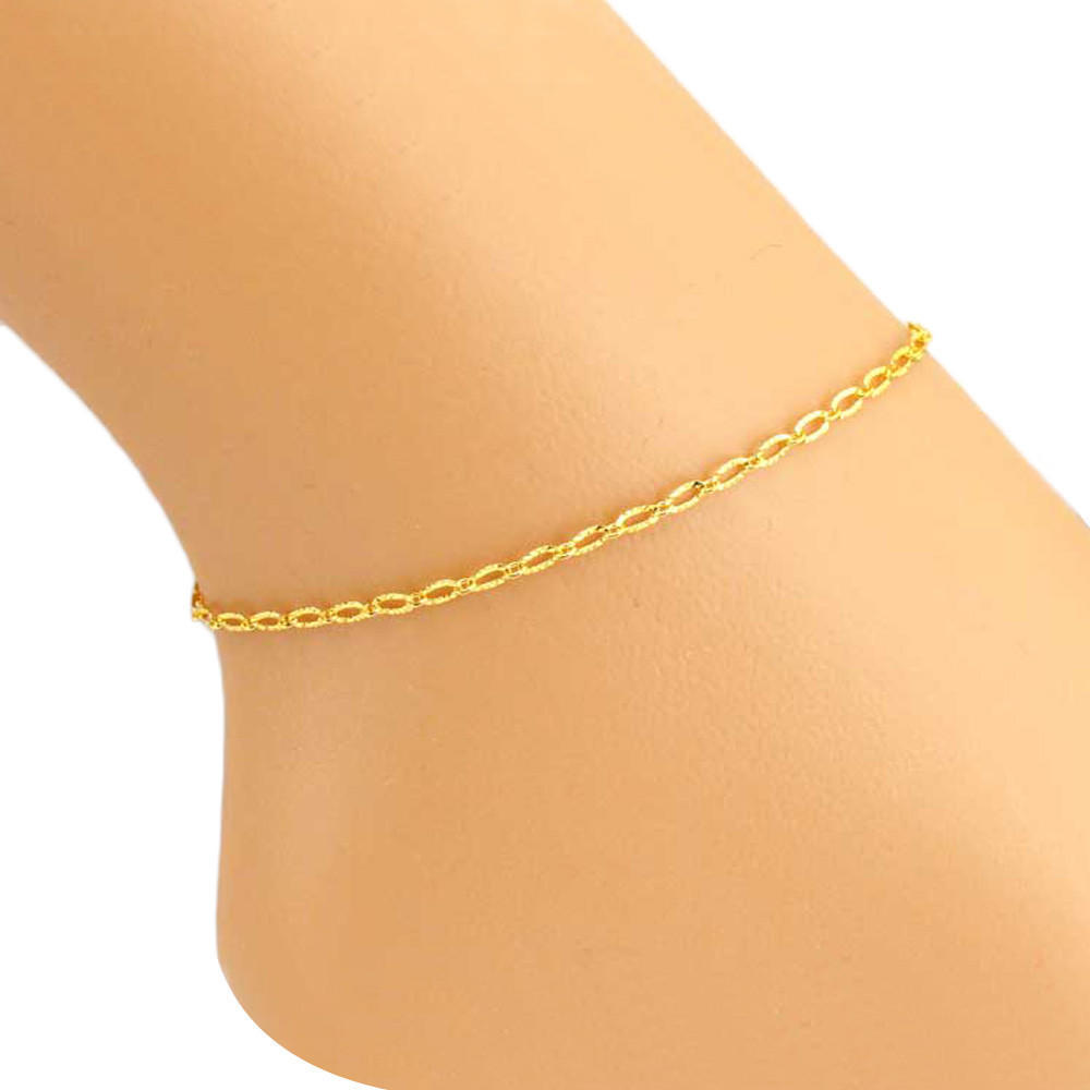 Стильных женщин золотые кольца пряжкой лодыжки браслет босиком сандалии Бич ног очарование украшения