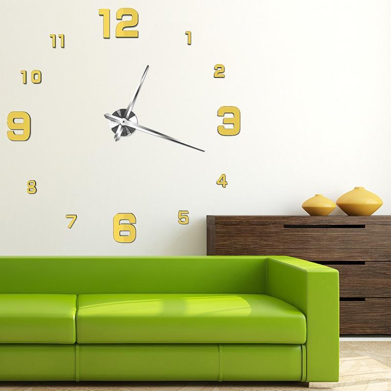 large size wall clock 3d mirror sticker big watch diy home d