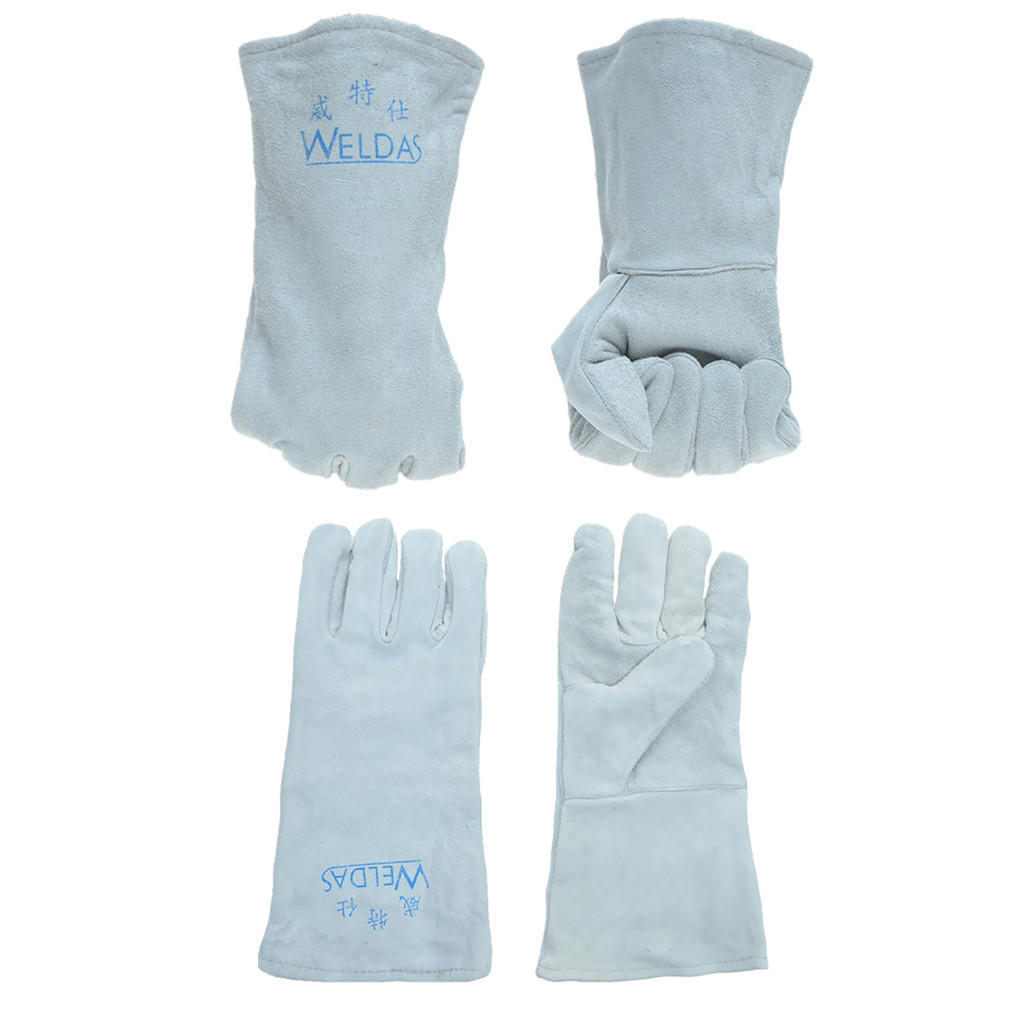 2 пары сварочные перчатки коровьей электрические Миг TIG сварочные Перчатки сварщика защищать L + XL