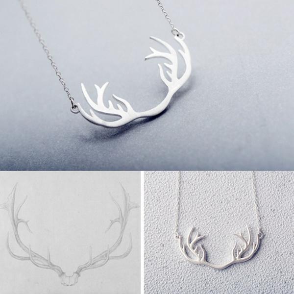 НОВЫЕ классические подарки ювелирные изделия Серебряные позолоченные женщин леди Antler цепи куло...