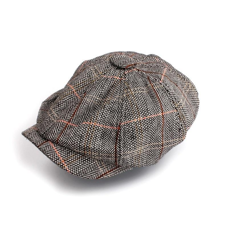 Елочка Твид Gatsby газетчик шапочка мужчин случайные шляпа