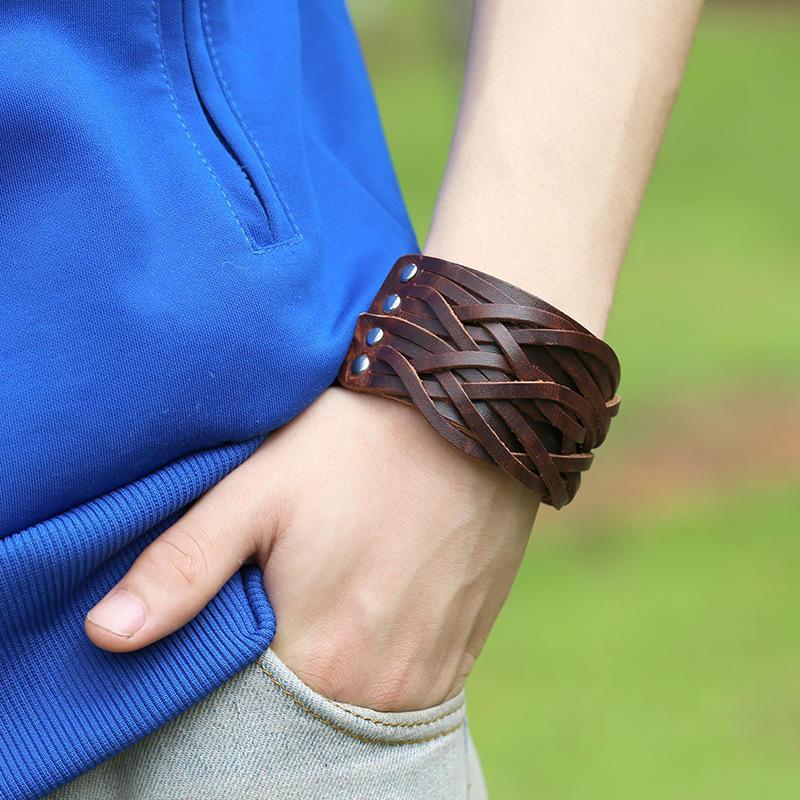 4 цвета кожаные браслеты широкий манжеты браслеты браслеты для женщин мужчин ювелирные аксессуары...