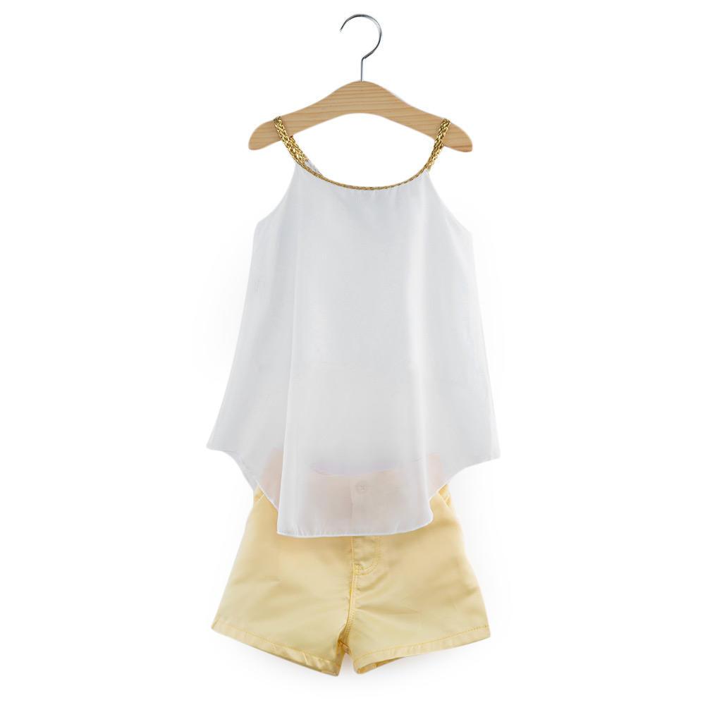 2 шт шикарный без рукавов шифон блузки топ с половиной брюки для девочек