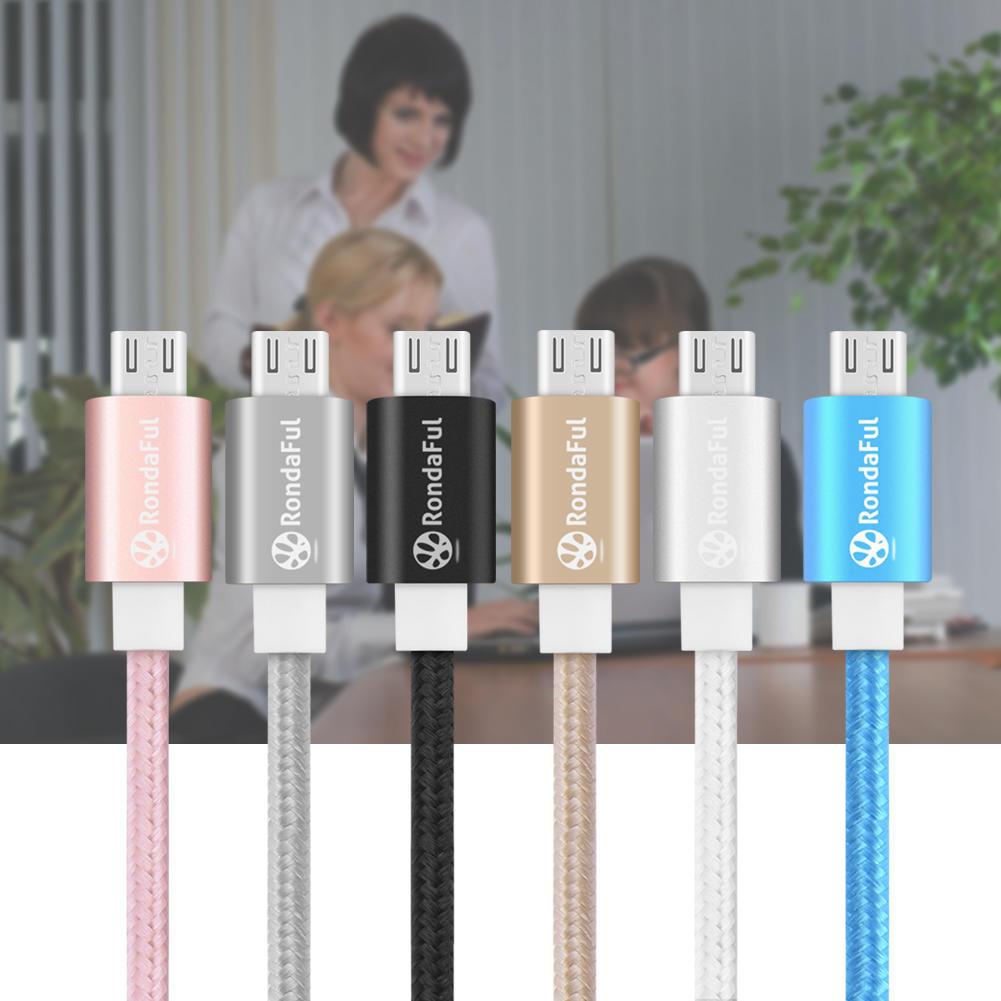 Rondaful металл нейлон Braid Micro USB кабель, рок USB кабель данных сплава зарядный кабель для S... orico mtf 10 micro usb зарядный кабель