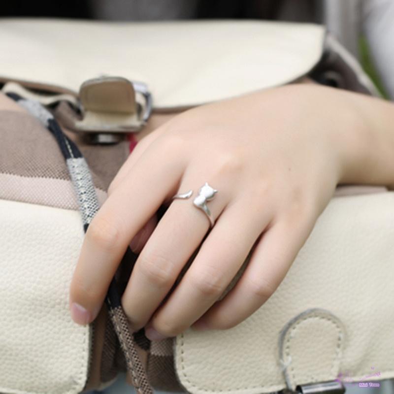 Женские регулируемое кольцо 925 стерлингового серебра кольцо Cat дизайн кольца